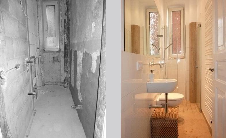 Wohnung Esslingen / WC (vorher/nachher)