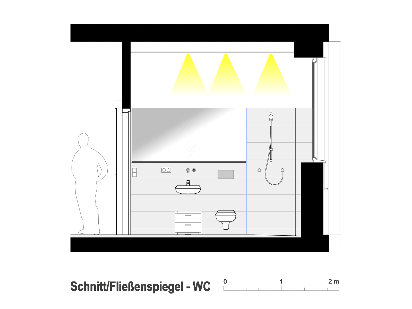 Wohnung Esslingen / WC Fließenspiegel